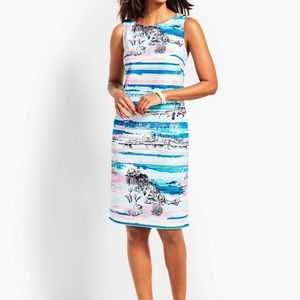 Talbots  Shift Dress Sleeveless Blue Beach Theme